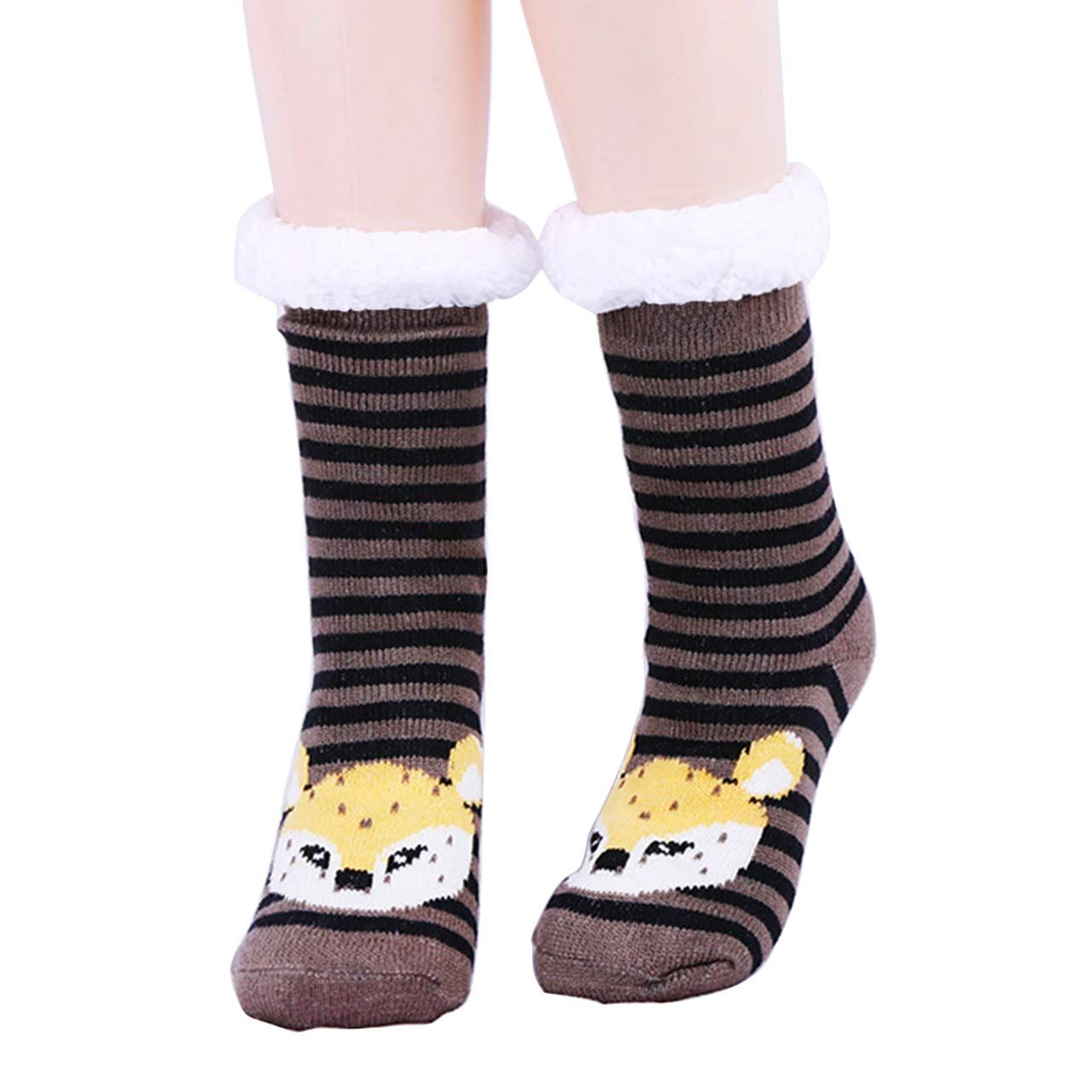 Fuzzy Winter Socks For Women Super Soft Foot Wears Christmas Warm Non-slip Sock