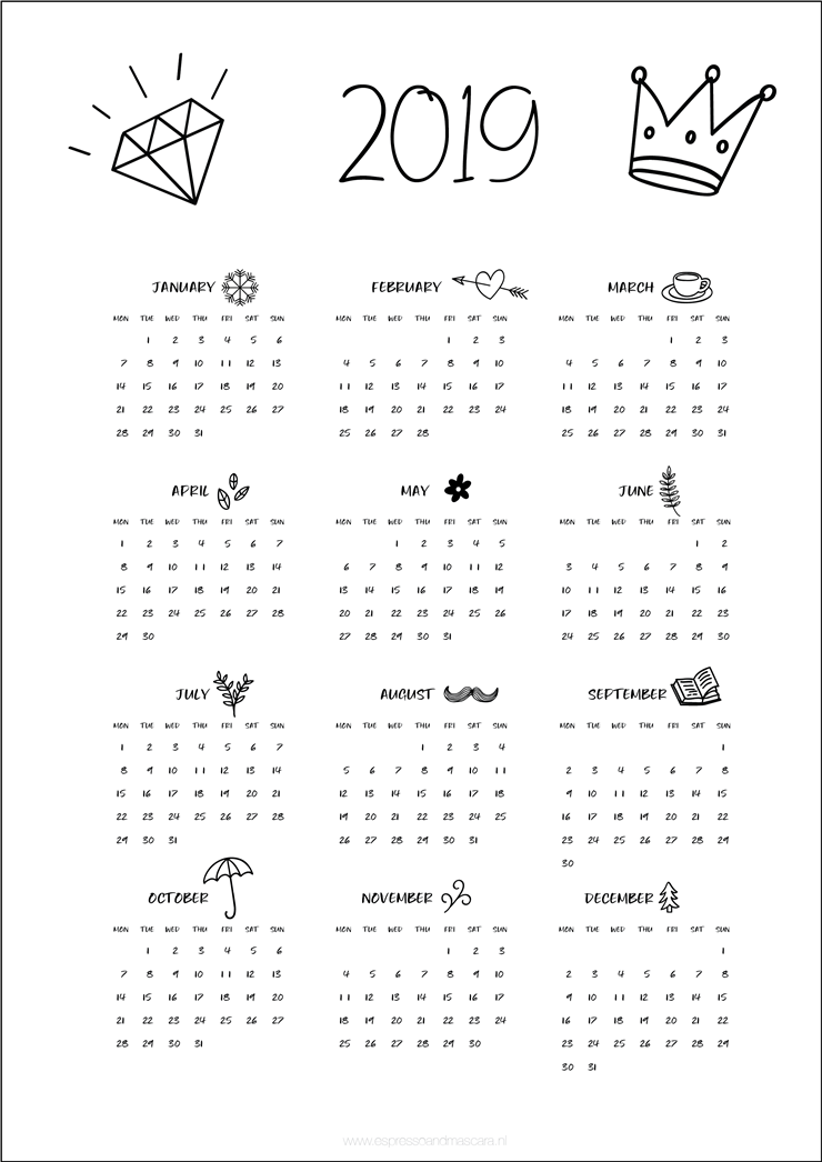 calend u00e1rios 2019  minimalistas e fofos