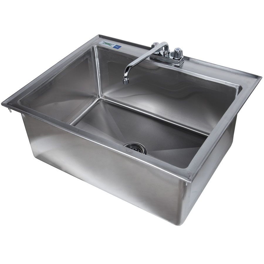 Regency 28 X 20 X 12 16 Gauge Stainless Steel One Compartment Drop In Sink With 12 Faucet Sink Stainless Steel Sinks Drop In Sink