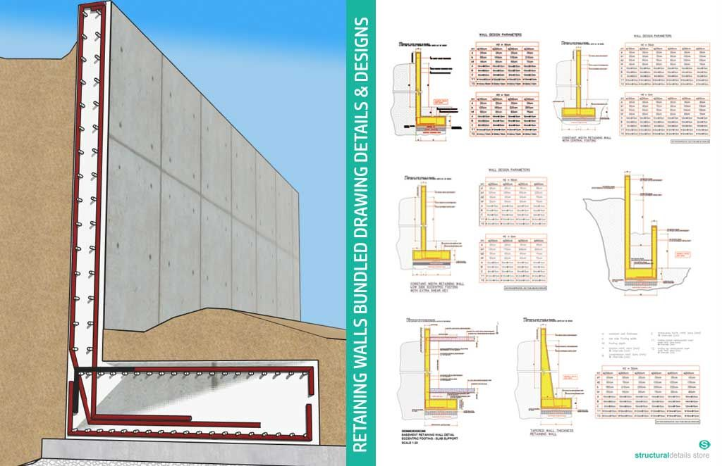 reinforced concrete retaining walls bundled drawing on types of walls construction id=85302