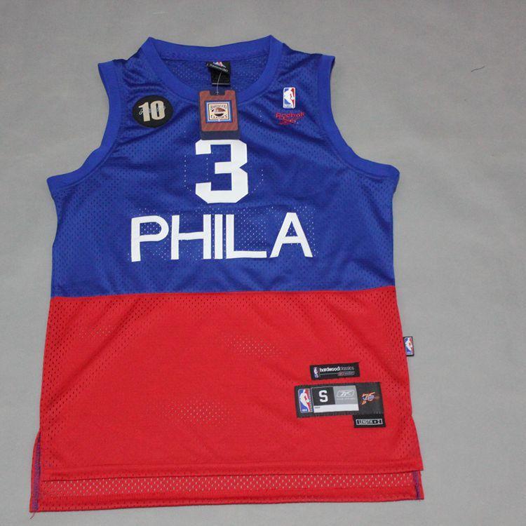c033c65d4a4 Allen Iverson 3 Philadelphia sixers Retro jersey blue red ...