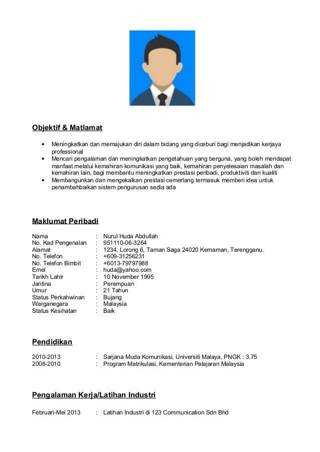 Contoh Resume Format Pdf hafiz Pinterest