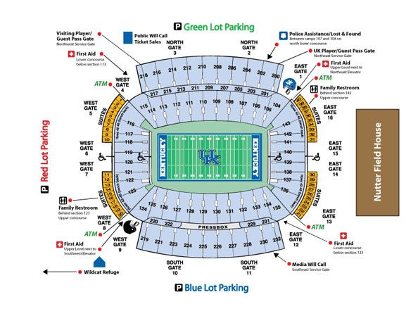 Kentucky football stadium seating chart kentucky wildcars football