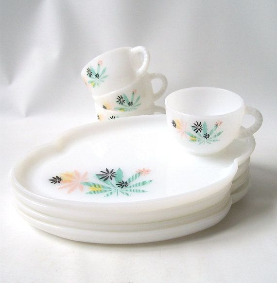 Vintage Fire King Patio Snack Set    Service For Four, 4 Teacups And 4  Plates    Pattern Is Pastel And Black Maple Leaves On White Milk Glass  Measures ...