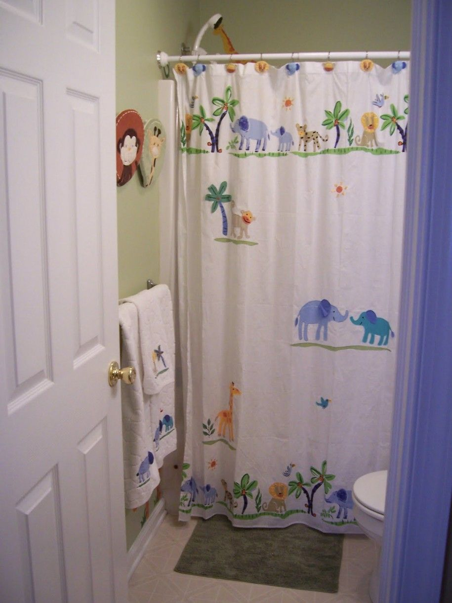 Retro Bathroom For Kids Decoration With Yellow Lime And Funny - Kids bathroom shower curtains for small bathroom ideas