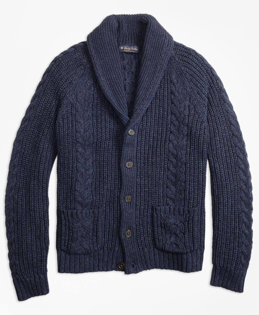9f085ed021 Brooks Brothers Men s Blue Cable Knit Shawl Collar Cardigan ...