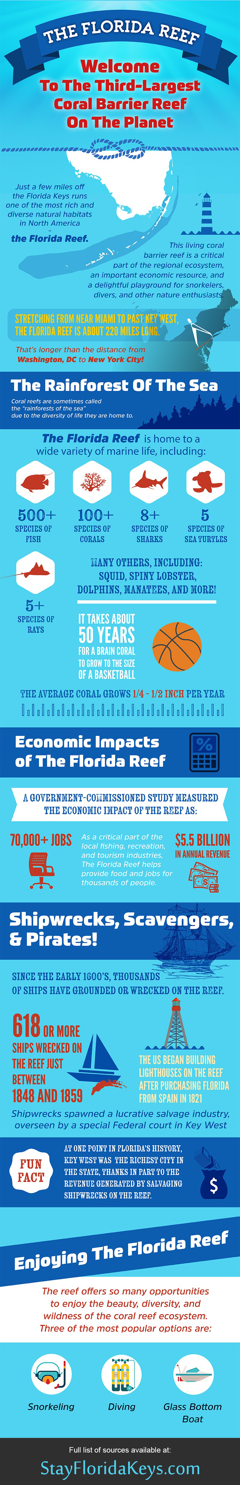 The Florida Reef | Florida, Great barrier reef, Infographic