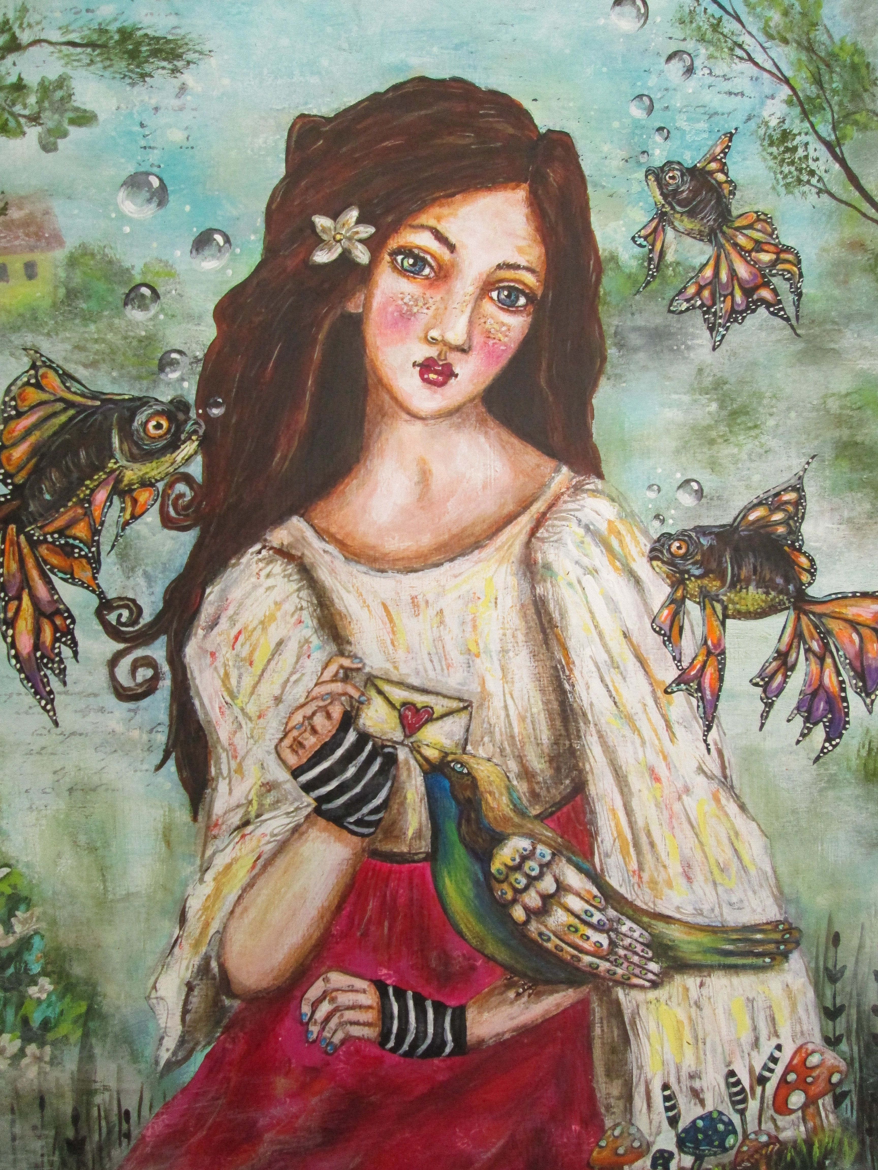 Artist; Shannon Nicole  Title: This Love has got a hold on me Whimsical Art Painting Available for sale on Ebay. http://www.ebay.com/itm/271753538590?ssPageName=STRK:MESELX:IT&_trksid=p3984.m1555.l2649