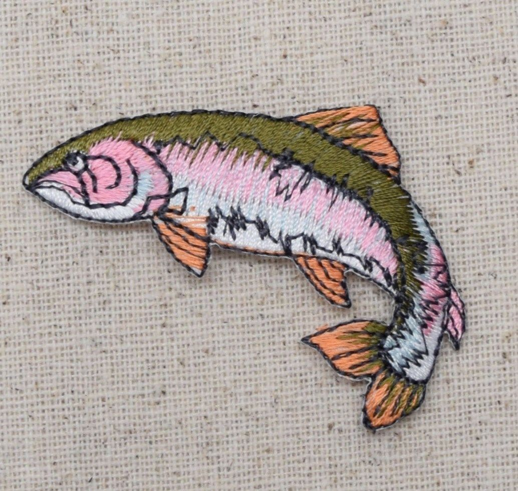 39d66c1b4a27f Natural Fish - Rainbow Trout - Facing Left - Iron on Applique Embroidered  Patch