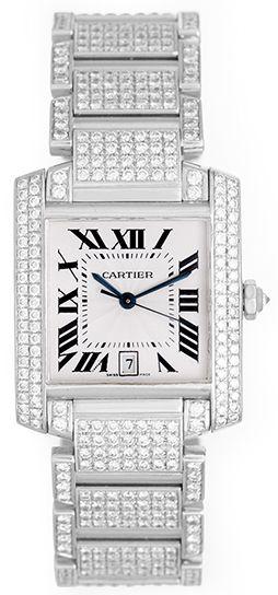 494cf328711d Cartier Pave Diamond Tank Francaise 18k White Gold Men s or Ladies Watch