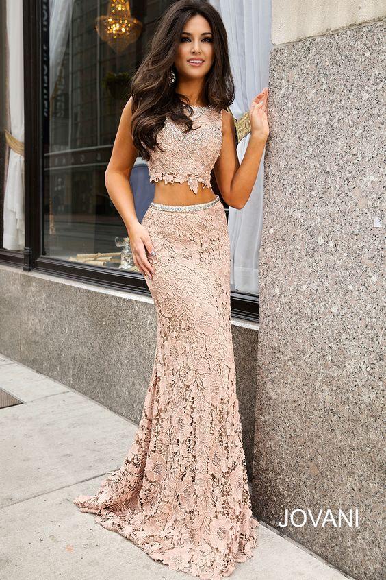 e4794e1e4a0 Two piece sexy champagne lace prom dress