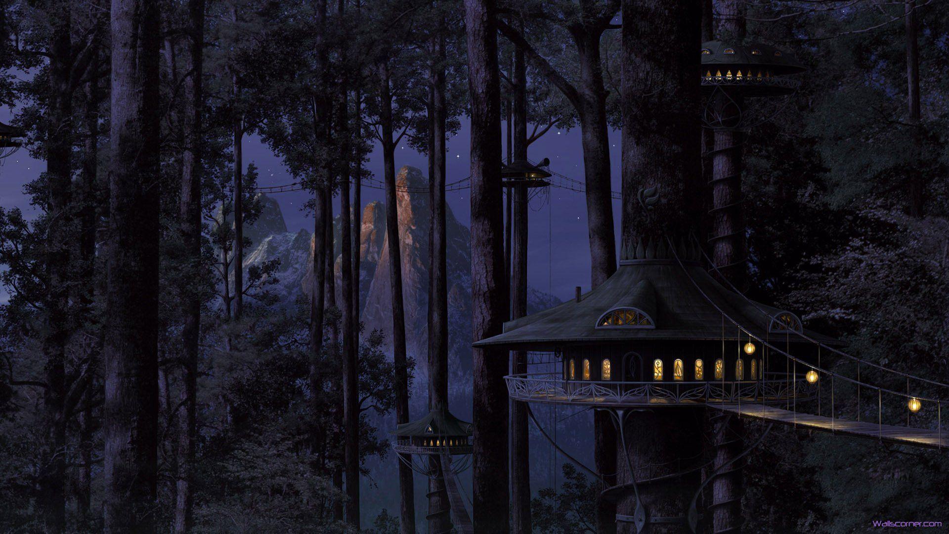 Dark City Wallpaper ファンタジーな風景 ファンタジーの森