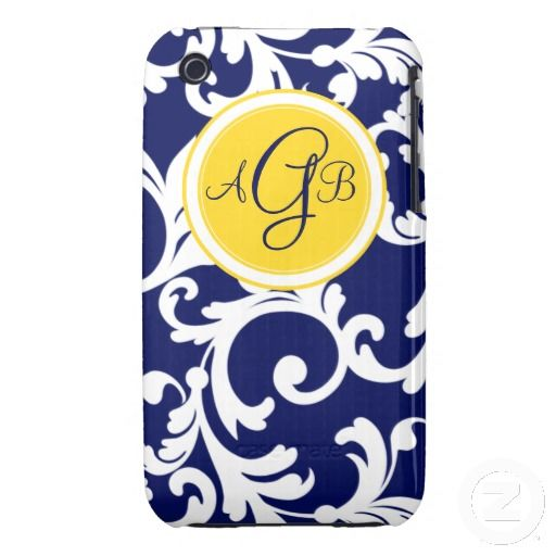 """""""G"""" Monogrammed Damask in Navy Blue and Yellow Case-Mate iPhone 3 Case"""