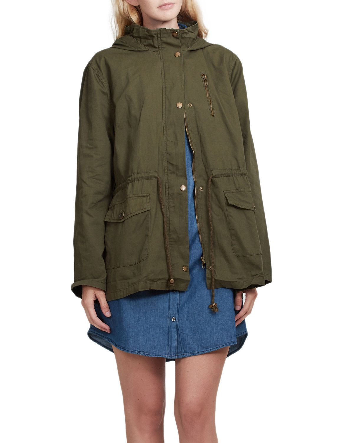 83f3a185de6b9 LE3NO Womens Military Anorak Safari Jacket with Hoodie
