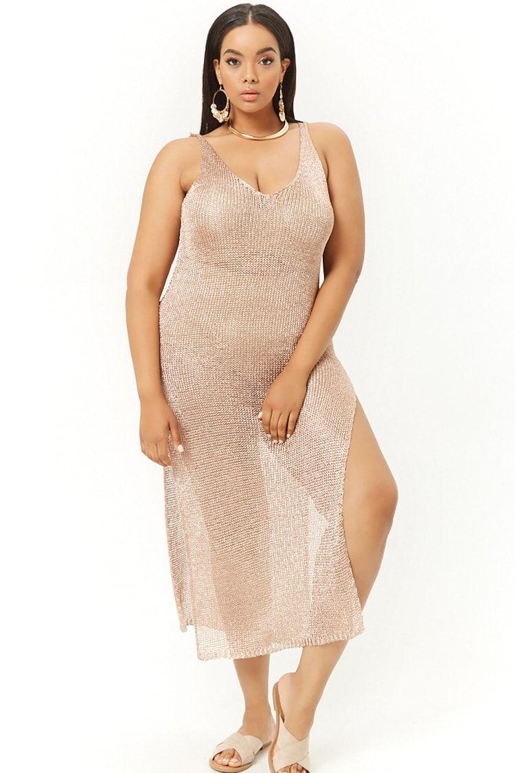 bf4aa5ceb53 Plus Size Sheer Metallic Swim Cover-Up Dress