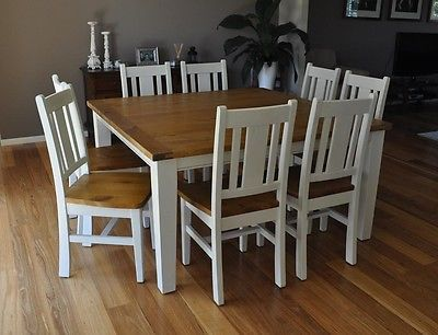 White 8 Seater Square Dining Table Chairs Rustic Shabby Chic