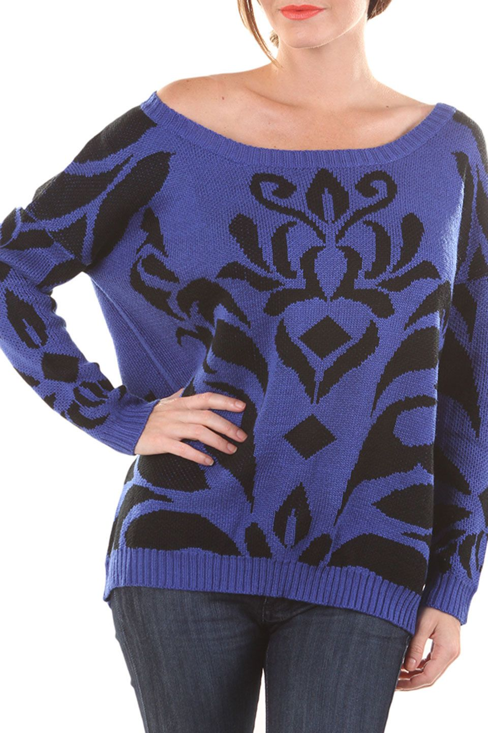 Very J Casey Sweater in Royal Blue - Beyond the Rack