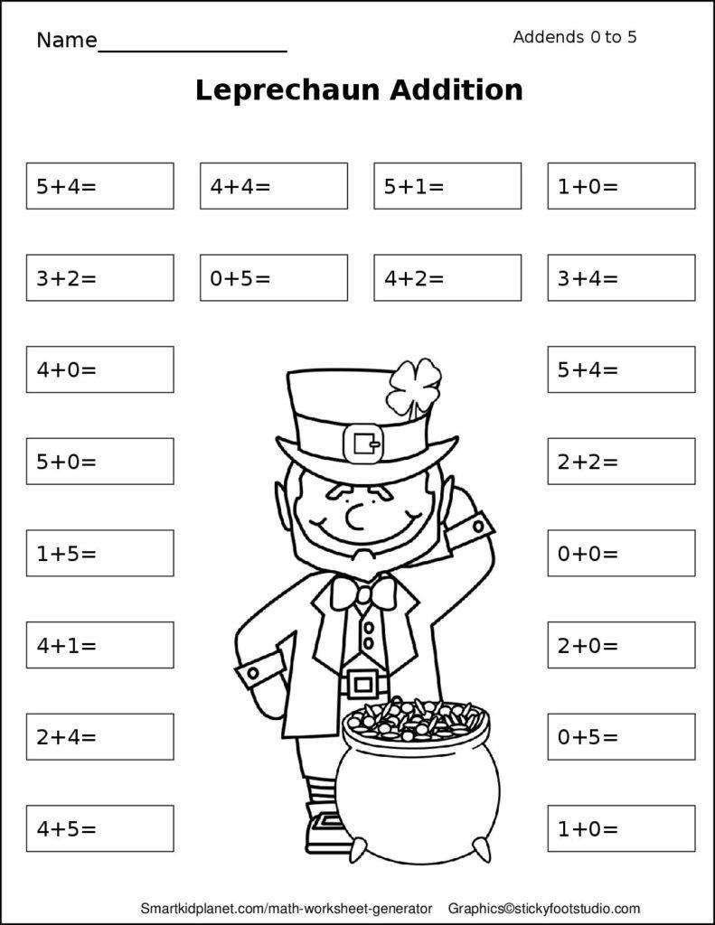 Leprechaun Addition (Addends 0-5) – Smart Kid Planet   Teacher Ideas ...