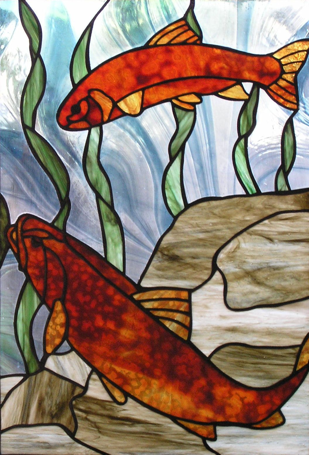 Two Brown Trout | Stained Glass | Pinterest | Brown, Trout and Brown ...