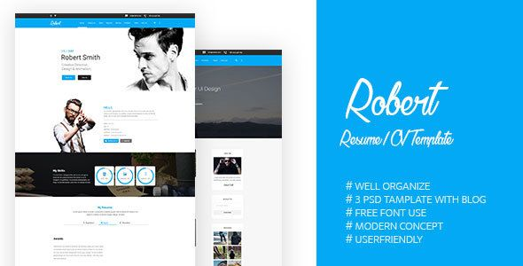 Resume Website Template Robertpsd Template  Resume Cv Psd Templates And Template