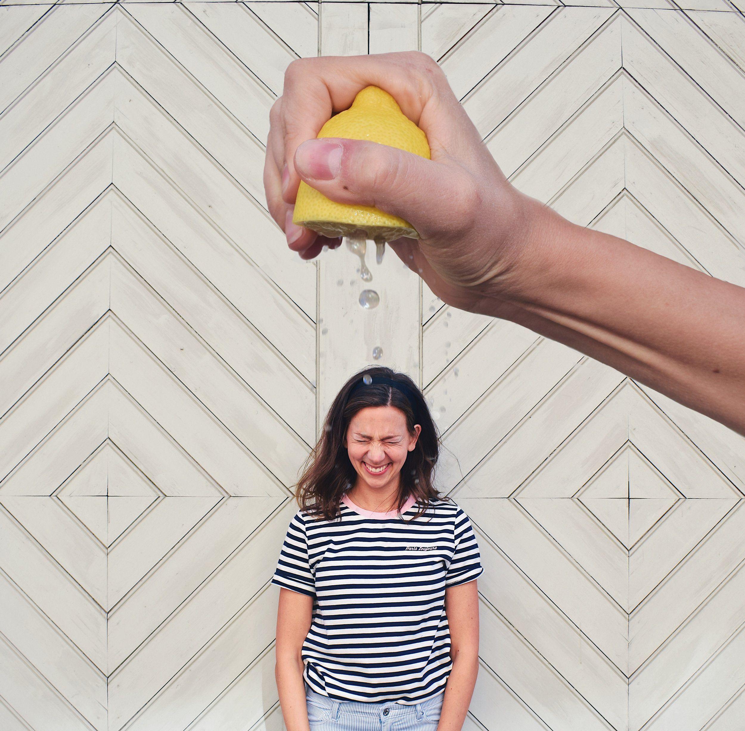 Fun Self Portrait Ideas- Forced perspective Lemon Squeeze