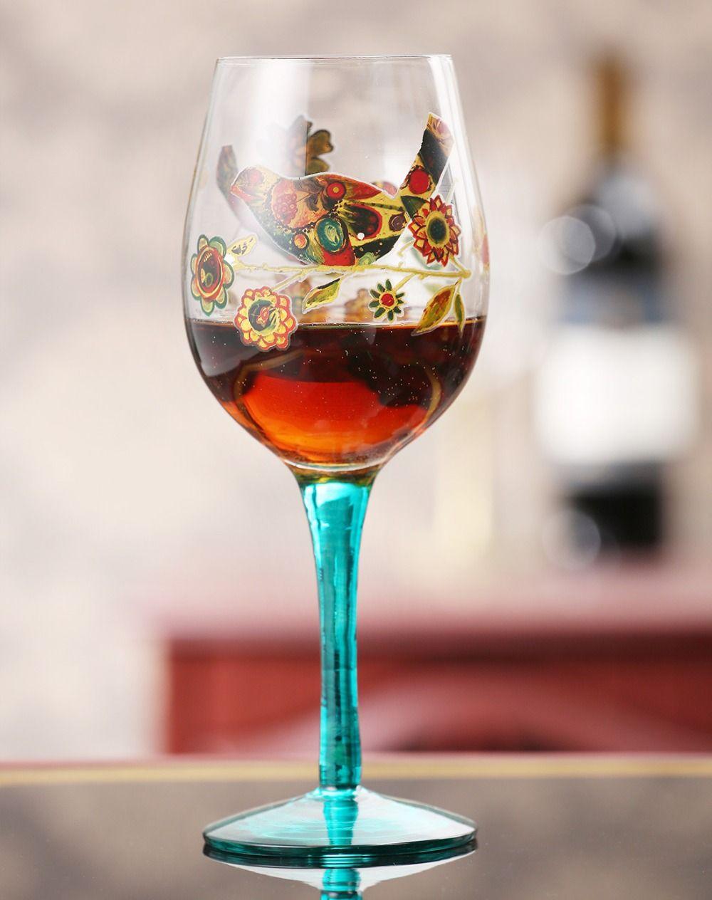 1pcs High Feet Glass Mug Art Glass Print Flower Spray Colour Glass Red Wine Mug Goblet Affiliate Mug Art Flower Spray Glass