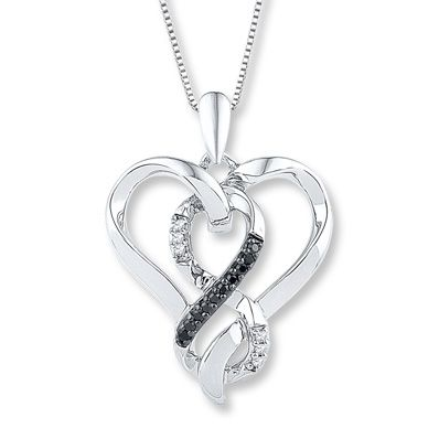 Black White Diamond Heart Necklace 1 10 Ct Tw Sterling Silver Kay In 2020 Heart Necklace Diamond Diamond Heart Diamond Cross Necklaces