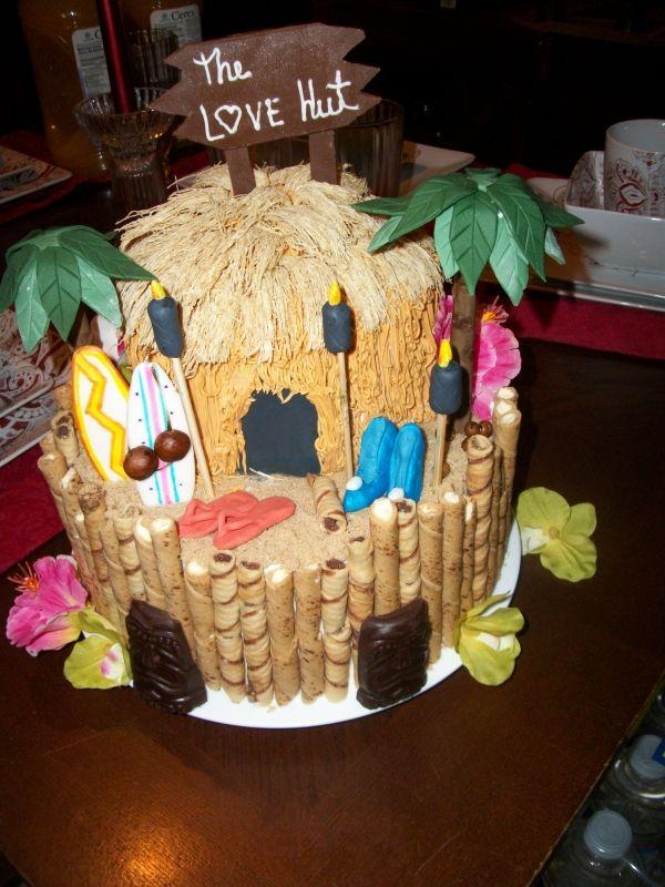 luau themed cake for bridal shower