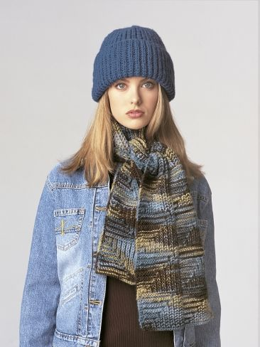 Free Pattern - Cozy folded-brim hat and interestingly-patterned scarf for  unbeatable warmth.  knit 4a3479883fa