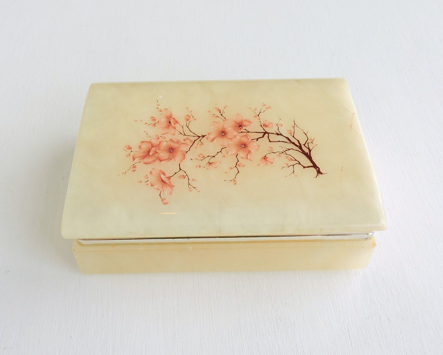 Vintage Alabaster Jewelry Box Floral Trinket Box Pink Asian