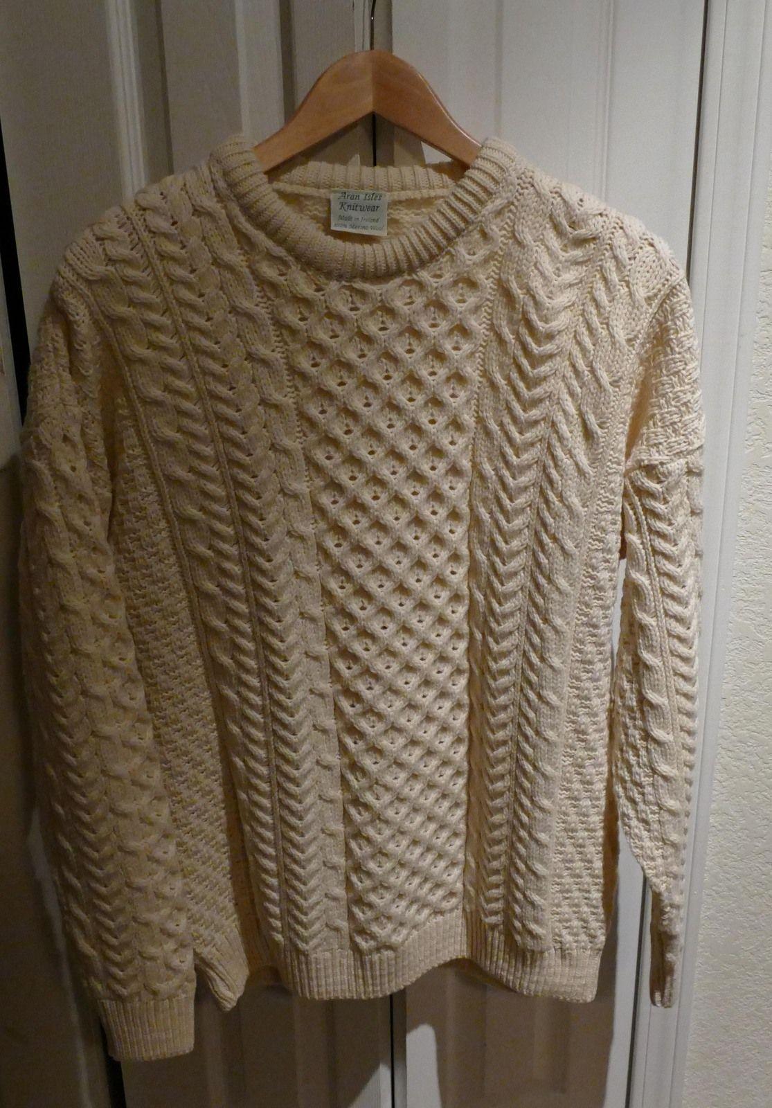 b43b2aba414f ladies Aran Isles Knitwear Made in Ireland 100% Merino Wool Sweater  Beautiful Design FAB!