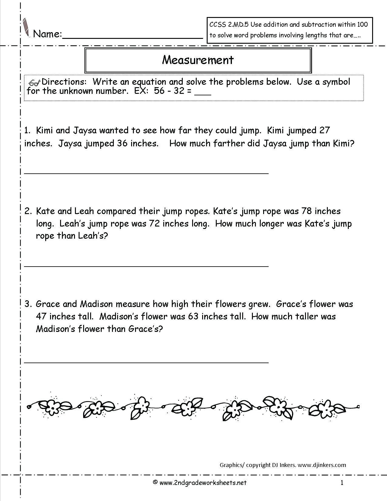 1st Grade Measurement Worksheets Math Worksheet For Kids In 2020 Math Word Problems Subtraction Word Problems Word Problem Worksheets