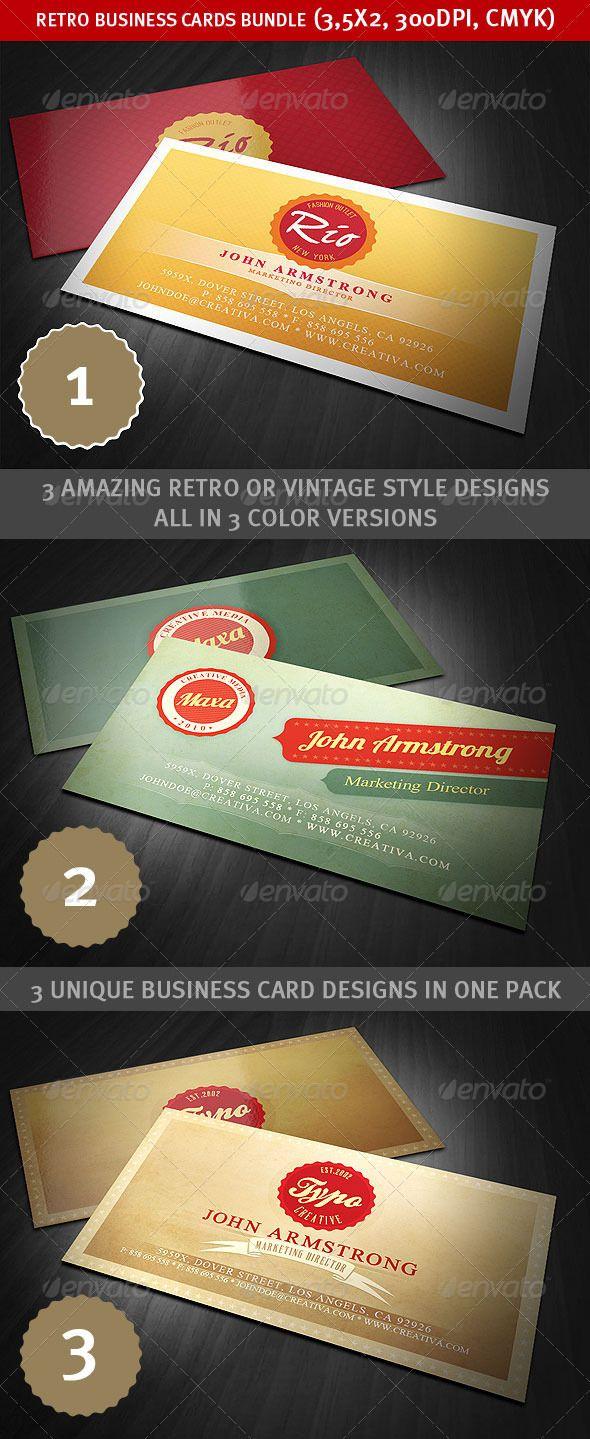 Retro Business Cards Bundle Retro Business Card Unique Business Cards Design Graphic Design Business