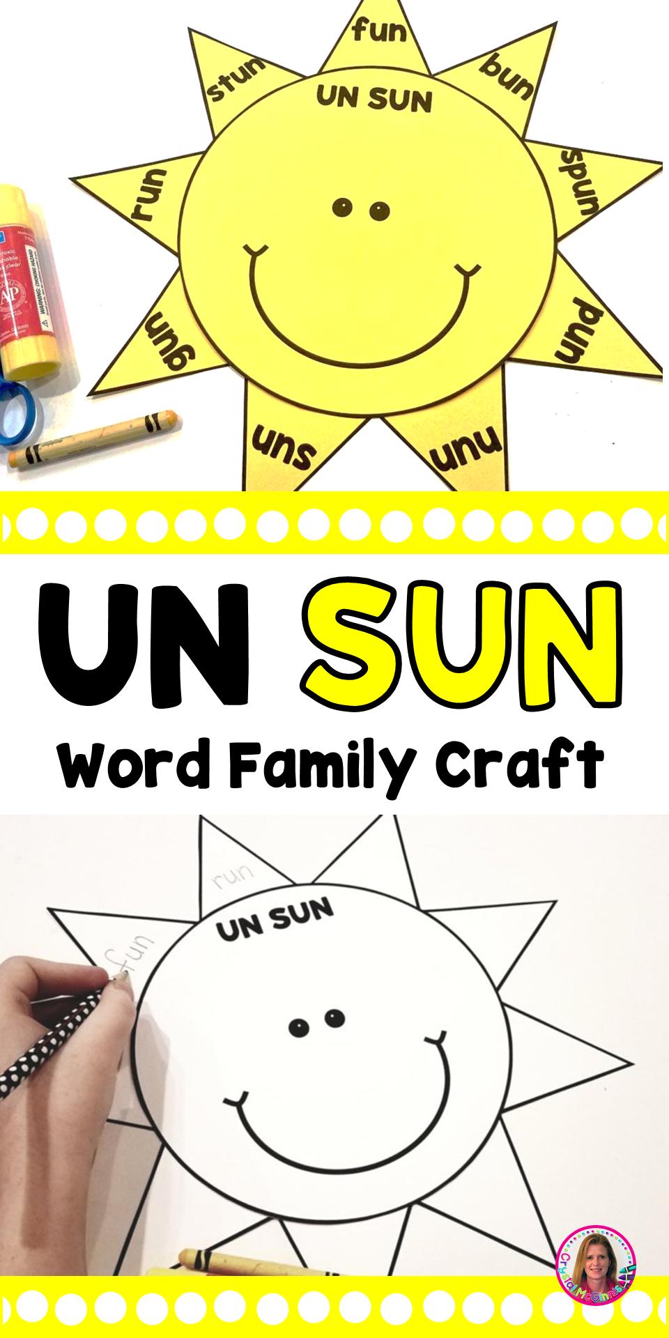 Un Sun Word Family Craft Word Families Kindergarten Word Families Word Family Activities [ 1920 x 960 Pixel ]