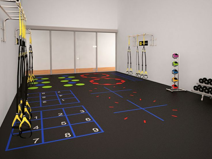 Fitness flooring graphics group exercise design concept
