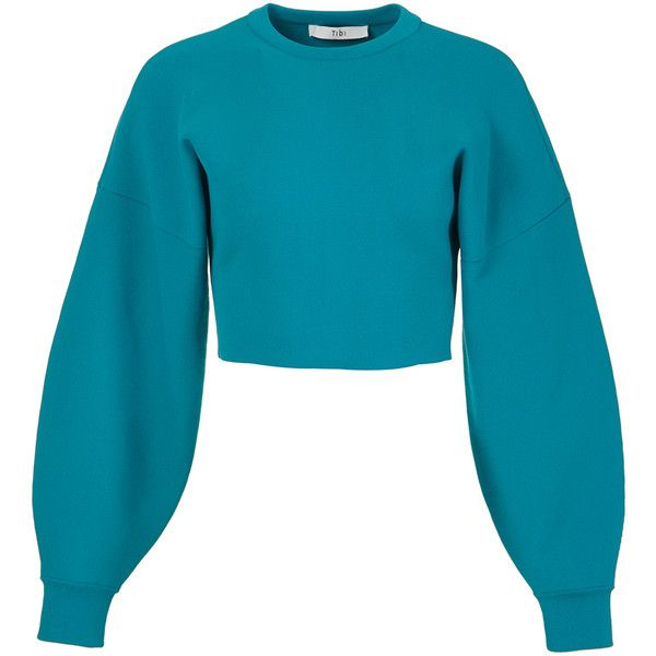 Tibi Jacquard Knit Pullover ($395) ❤ liked on Polyvore featuring tops, sweaters, blue crop top, cropped sweater, knit crop top, teal sweater and cropped knit sweater