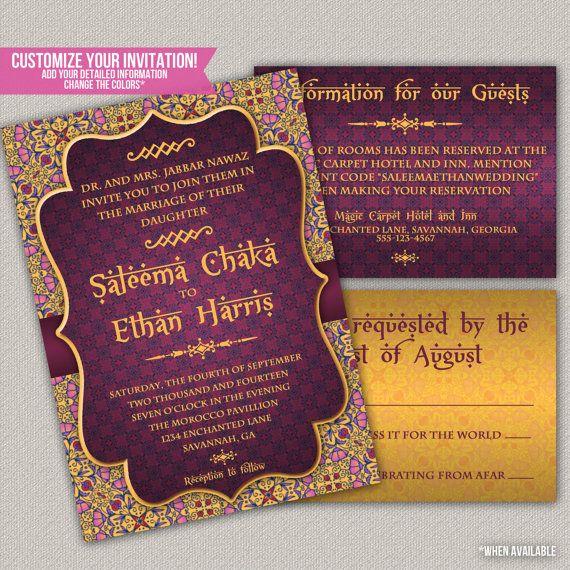 Arabian Nights Wedding Invitation Suite Wedding Invitation Party