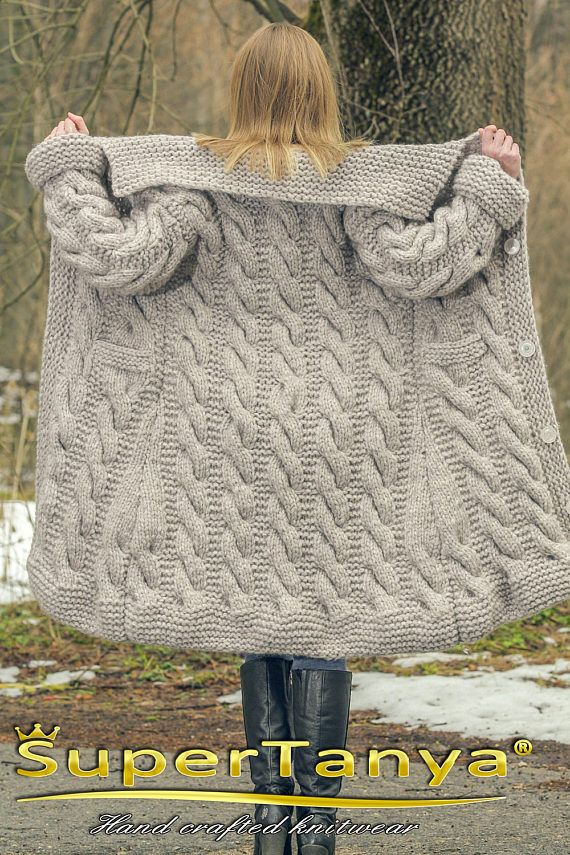 Hand knitted mohair wool cardigan in beige, thick chunky handmade sweatercoat by SuperTanya