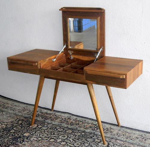 Mid Century Design Furniture: Solid Teak Writing Table/Dresser Table