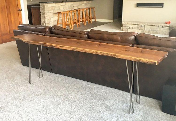 Pin By Jen Wilkinson On Sofa Tables Wood Sofa Table Live Edge Table Live Edge Console Table