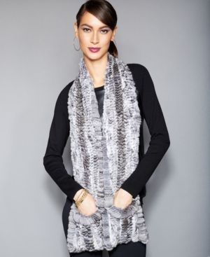 The Fur Vault Knitted Chinchilla Fur Scarf - Gray