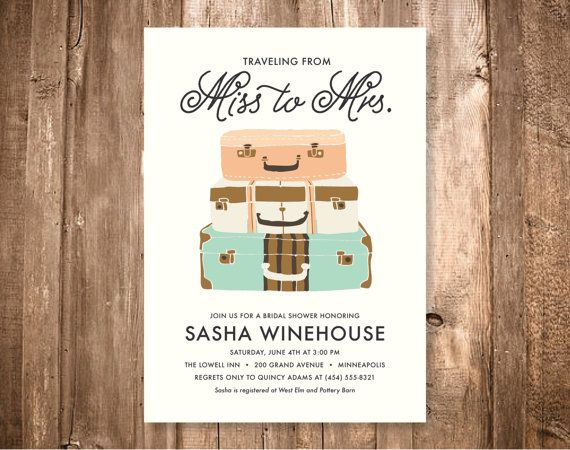 Traveling Shower Wedding Shower Invitation, Miss to Mrs