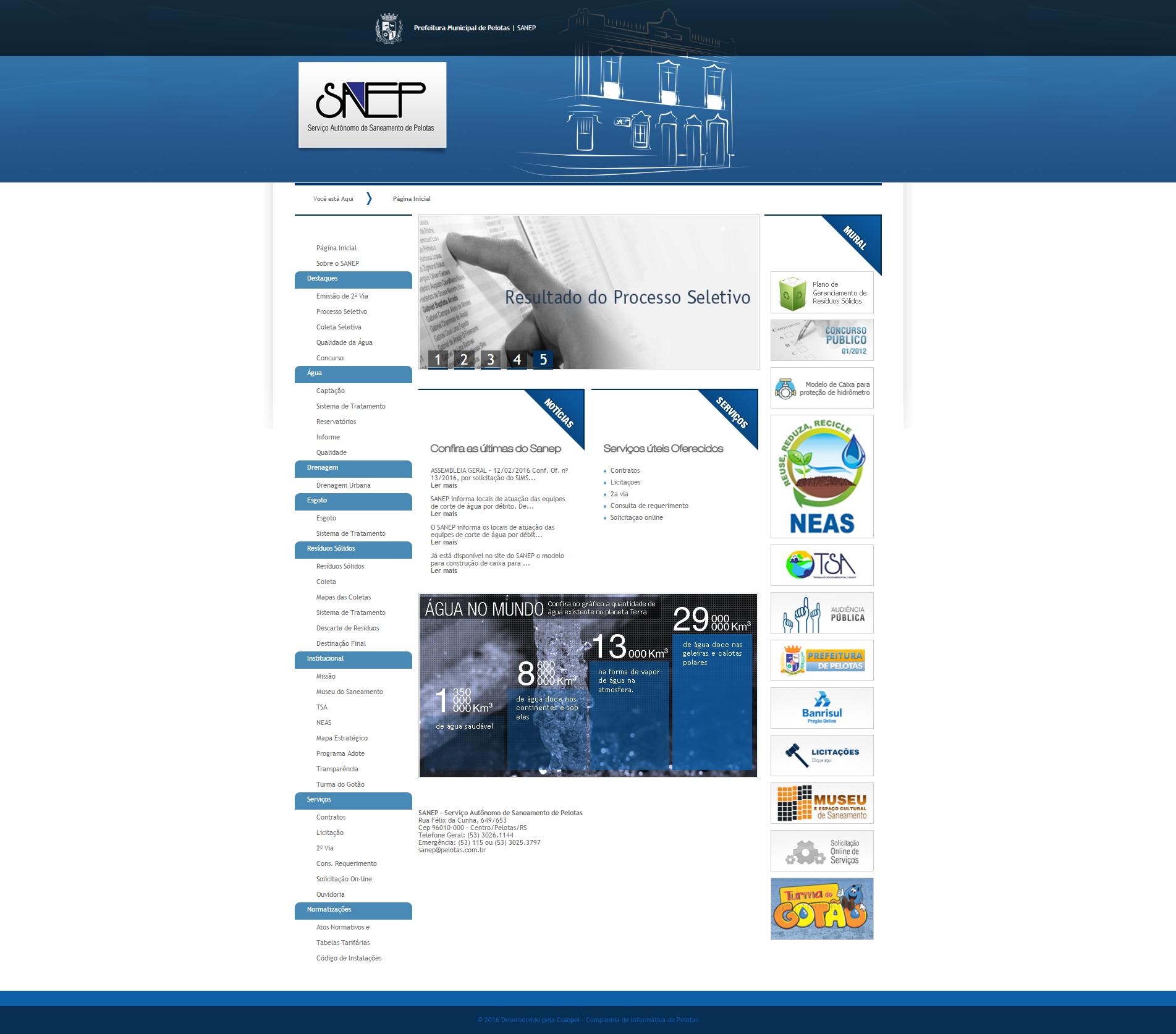 Site Desenvolvido para o SANEP pela COINPEL. #FrontEnd
