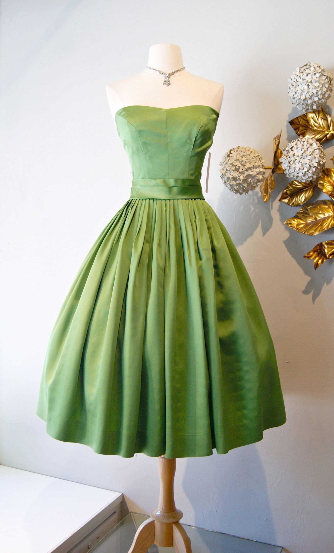 Vintage Dress Moss Green 50 S Party Dress Xtabayvintage Com Vintage Dresses Fashion Pretty Dresses [ 2867 x 1731 Pixel ]