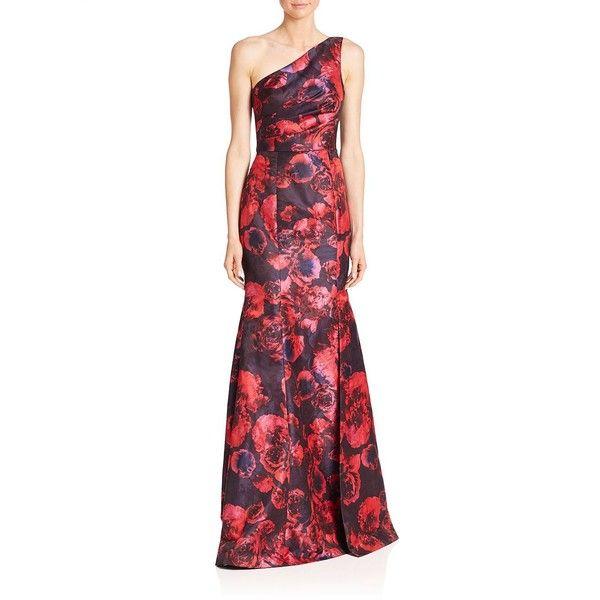David Meister One-Shoulder Floral Jacquard Gown ($350) ❤ liked on ...