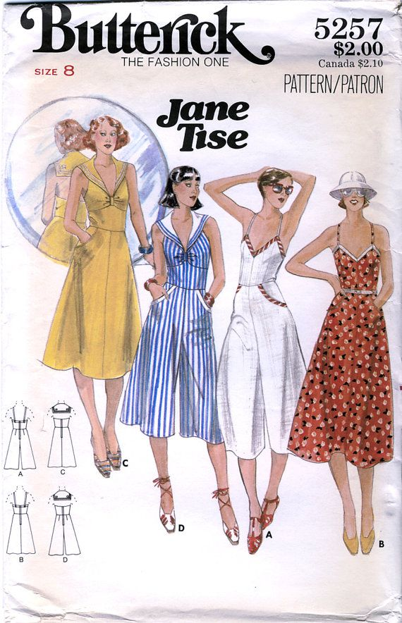 Butterick 5257 by Jane Tise Vintage 70s Misses\' Culotte Dress and ...