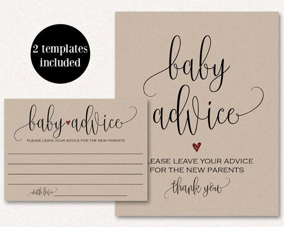 Purchase This Listing To Instantly Download And Print Your Own New Parent Advice Cards And Matching Sign Down Baby Note Cards Baby Advice Printable Note Cards