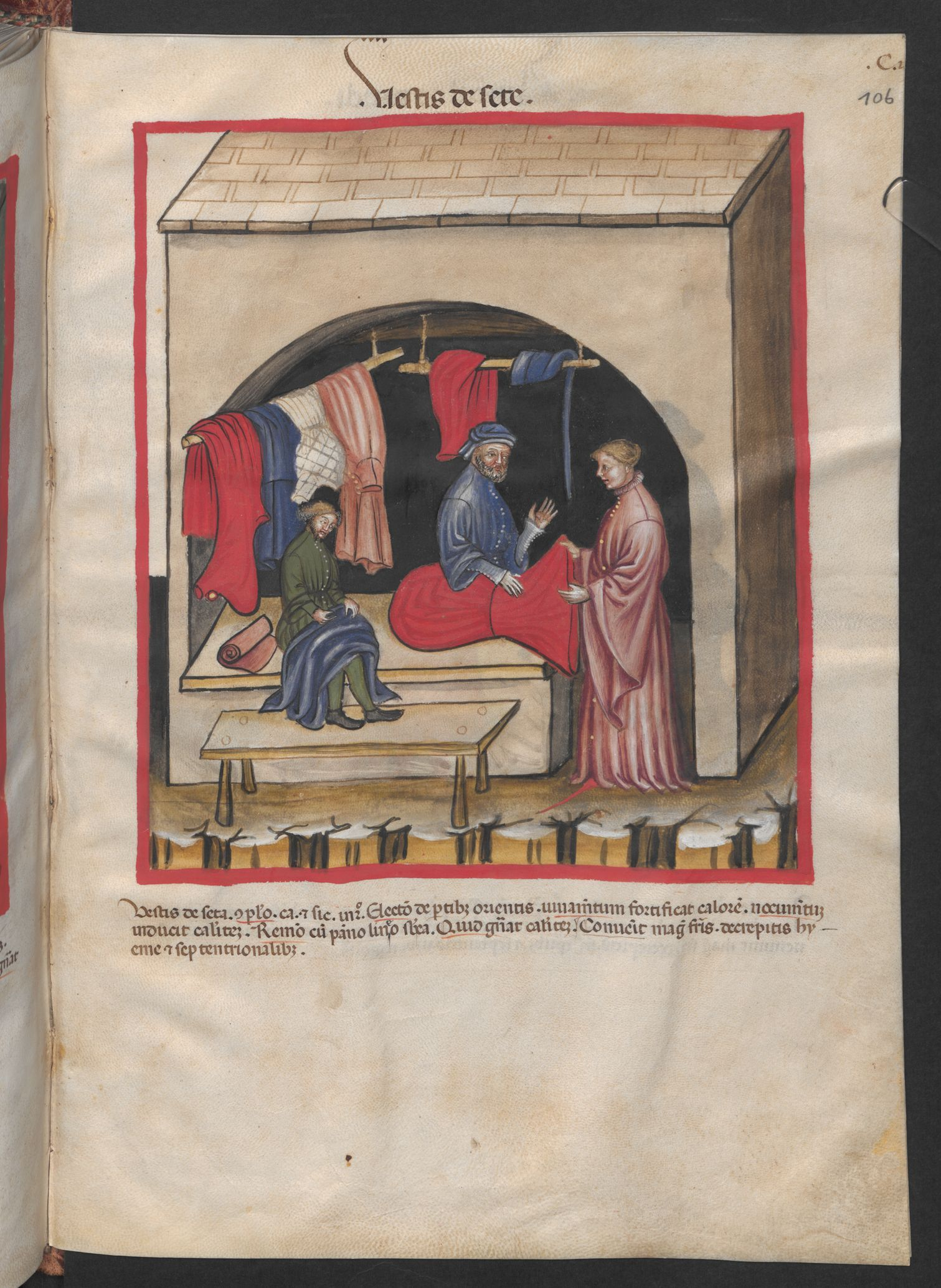Folio 106r (page 215). Tacuinum sanitatis, Codex Vindobonensis, series nova 2644. North Italy, probably Verona, 1380-1399.