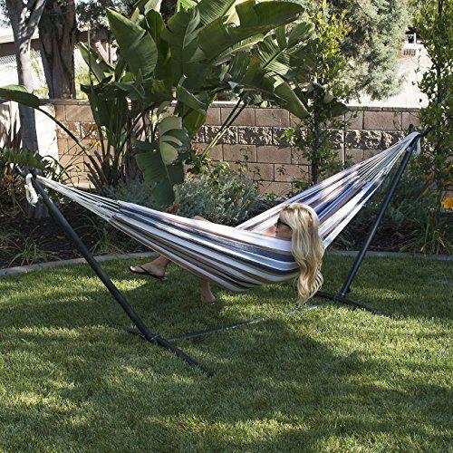 bellezza highly portable double hammock  u0026 10 ft steel hammock stand set that  es  plete with bellezza highly portable double hammock  u0026 10 ft steel hammock      rh   pinterest