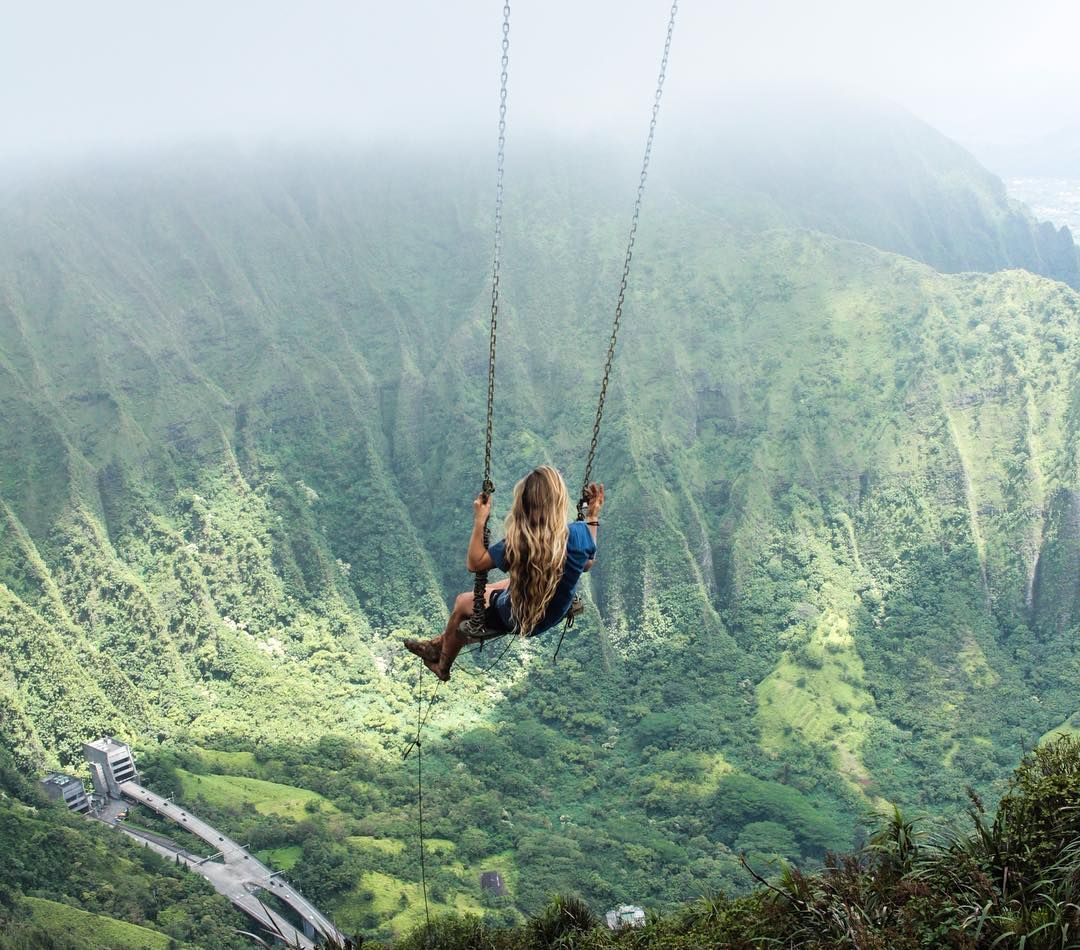 Swing At The Top Of The Haiku Stairs In Oahu, Hawaii Photo